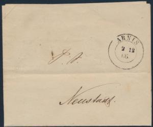Altdeutschland SchleswigHolstein Vorphila Brief K2 Postsache Arnis Neustadt via