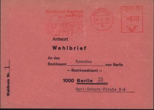Berlin Wahlbrief Bezirksamt Spandau mit AFS Berlin 20 25.2.1975