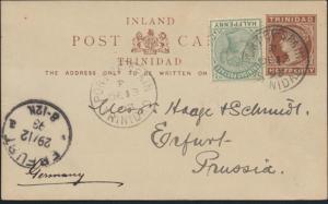 Trinidat Ganzsache P 2 mut ZuF 1/2p Port of Spain nach Erfurt 1893