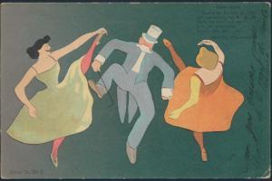 Ansichtskarte Jugendstil Cancan Tanz Argentinien 1904 nach Mazamet