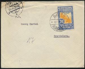 Ecuador Zensur Brief nach Bratislava Slowakei 24.11.1932
