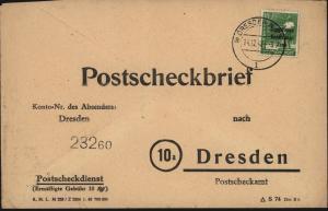 SBZ Brief EF 185 Postscheckbrief Dresden 14.12.1948 Motiv Post Postgeschichte