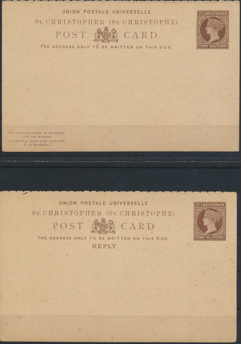 St. Christoph Ganzsache 1 1/2p Victoria Frage Antwort postal stationery Question 0
