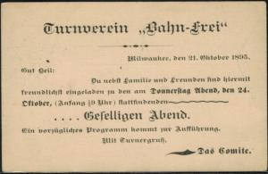 USA Ganzsache Zudruck Sport Turnverein Bahn frei Milwaukee postal stationery