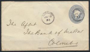 Ceylon Sri Lanka Ganzsache U 27 5c Victoria Norwood Colombo postal stationery