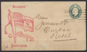 Großbritannien Privatganzsache 1/2c Standard Zeitung London Natal private postal