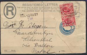 Südafrika Brief Ganzsache 3 b 5 1/2 d King Georg blau ZuF 1 d im Paar via
