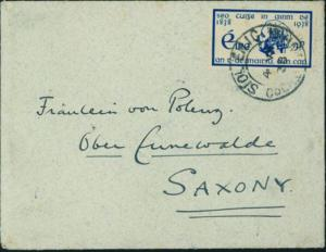 Irland 68 EF 3p 100 Jahre Enthaltsamkeitbewegung 1938 auf kl. Brief n. Sachsen