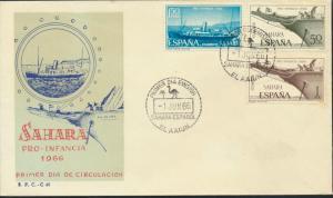 Spanisch-Sahara 280-282 dekorativer FDC Schiffe + Strauss Für die Jugend 1966