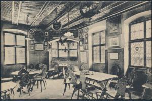 Ansichtskarte Foto Batzenhäusl Innenansicht Bozen nach Bonn 1909