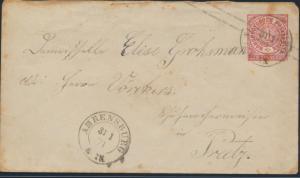 Altdeutschland Norddeutscher Bund Ganzsache K2 Ahrensburg nach Preetz 31.1.1871