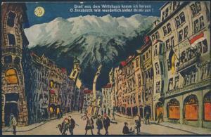 Ansichtskarte Künstlerkarte Innsbruck Wirtshaus Blick eines Betrunkenen