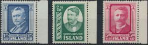 Island 293-295 tadellos postfrisch - Hannes Hafstein 1954
