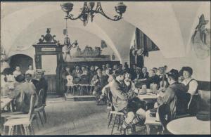 Ansichtskarte Foto Innenansicht Tegernsee Braustüberl nach Bonn 1909 Bier