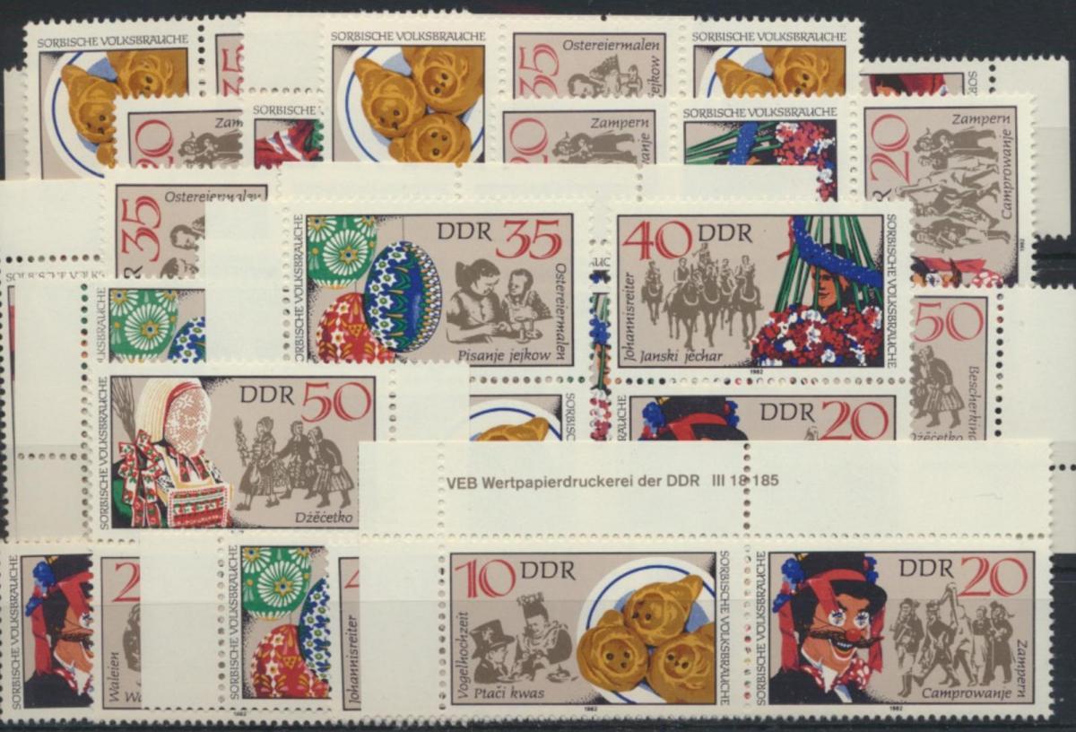 DDR 2716-1 Sorbische Volksbräuche kpl.18 Zusammendrucke incl. 1x Druckvermerk 0