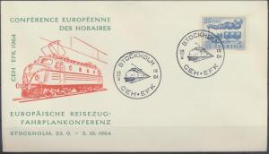 Schweden Brief Eisenbahn attraktiver Umschlag Europa Reisezug Fahrplankonferenz