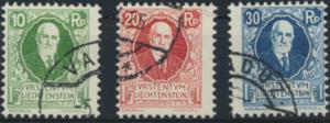 Liechtenstein 72-74 gestempelt - 85. Geburtstag von Fürst Johann II.