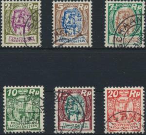 Liechtenstein 65-70 gestempelt - Freimarken 1925 Winzer und Schloss