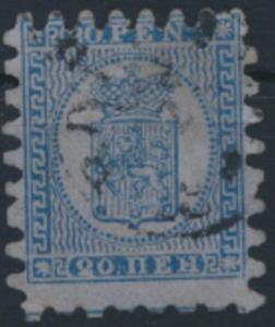 Finnland 8 B gestempelt  20 Penni Freimarke Wappen
