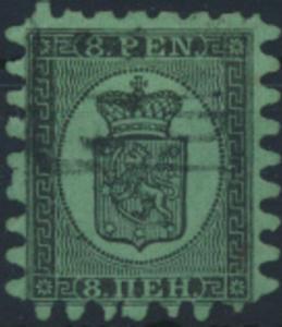 Finnland 6 B x gestempelt  8 Penni Freimarke Wappen