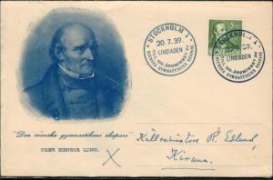 Schweden Brief 253 DL Sport Sonderstempel Gymnastik Svenska Gymnastikens 1939