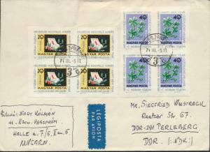 Ungarn Brief Luftpost 1983+1985 Viererblock Veszprem nach Perleberg DDR