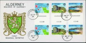 Alderney 1-18 Ansichten 1983 komplett auf 4 Sonderumschlägen mit Gutterpairs