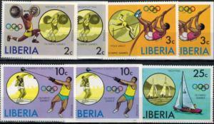 Liberia Olympia Sport Montreal Satz + Blockausgabe gezähnt/ungezähnt postfrisch