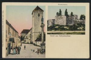 Österreich Ansichtskarte Schrattenthal Verlag Ferdinand Steinhauser Hussenturm +