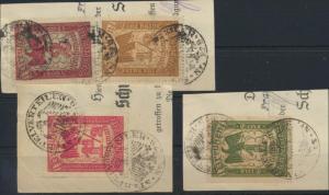 Preußen Stempelmarken 1/2 + 1 +1 1/2 + 2 Mark auf Briefstücken