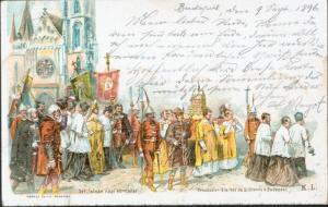 Ansichtskarte Ungarn 2 Kr. Privatganzsache BUDAPEST FOPOSTA n. Darmstadt 1896