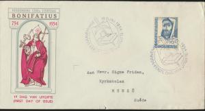 Niederlande Brief 643 Ermordung Bonifatius echt FDC gelaufen nach Munsö Schweden