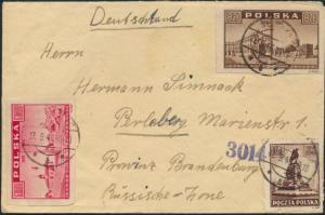 Polen Brief MIF 393+414+418 Slupsk nach Perleberg 17.9.1946