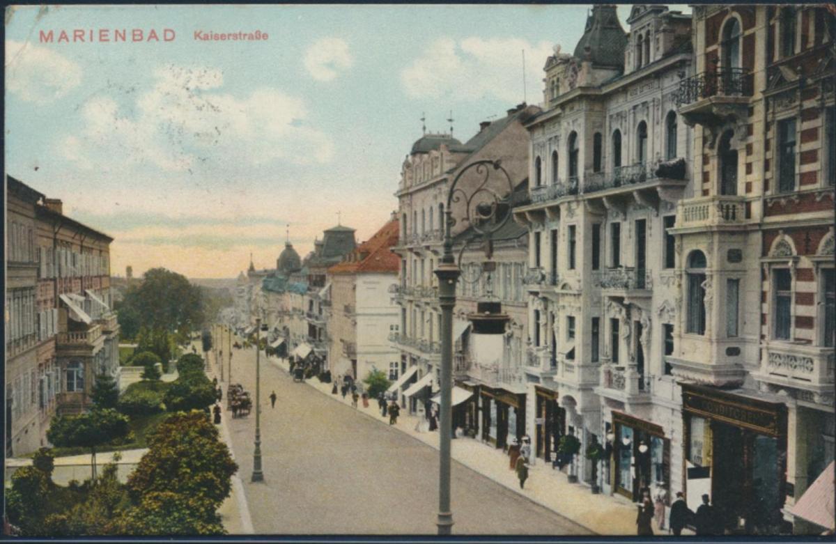 Ansichtskarte Marienbad Mariánské Lázně Kaiserstraße 1901 Sudetenland Passanten 0