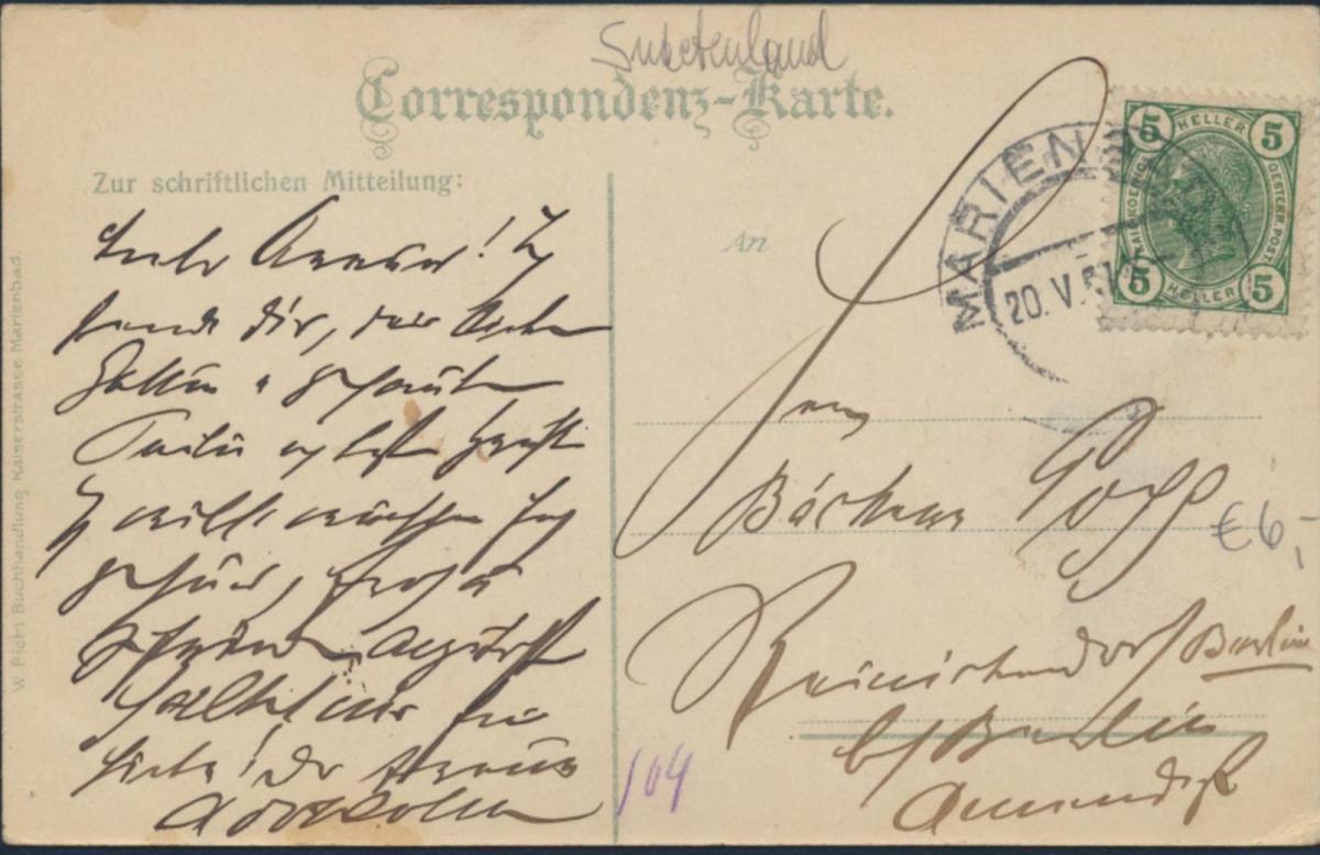Ansichtskarte Marienbad Mariánské Lázně Kaiserstraße 1901 Sudetenland Passanten 1