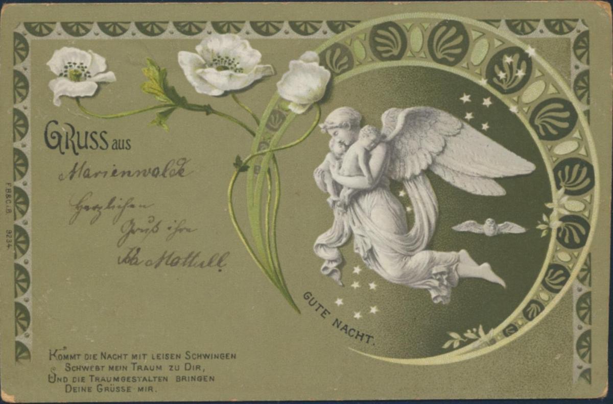 Ansichtskarte Jugendstil nach Reattischken 1902 Gruss aus Marienwalde Engel 0