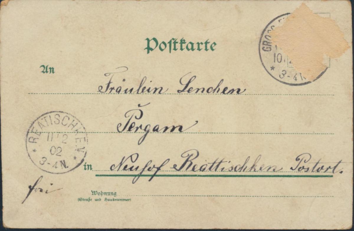 Ansichtskarte Jugendstil nach Reattischken 1902 Gruss aus Marienwalde Engel 1