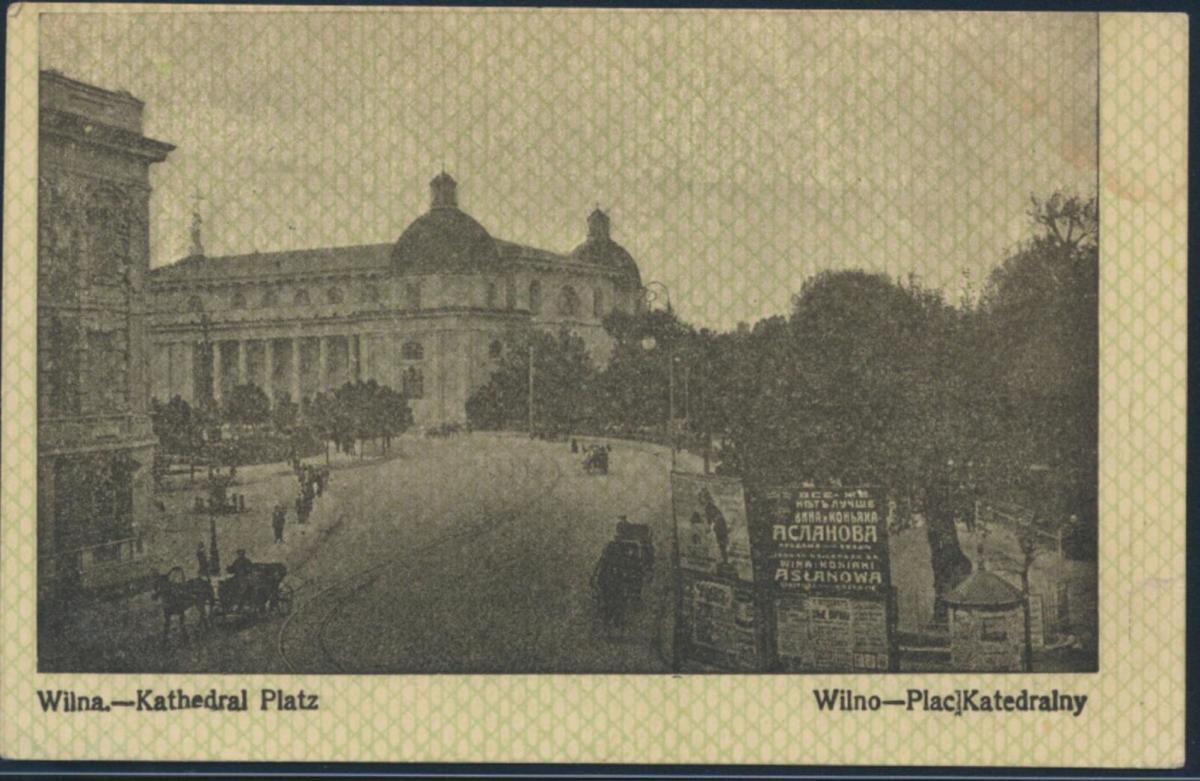 Ansichtskarte Feldpost nach Breslau 1915 Wilna Kathedral Platz Pferdekutschen 0