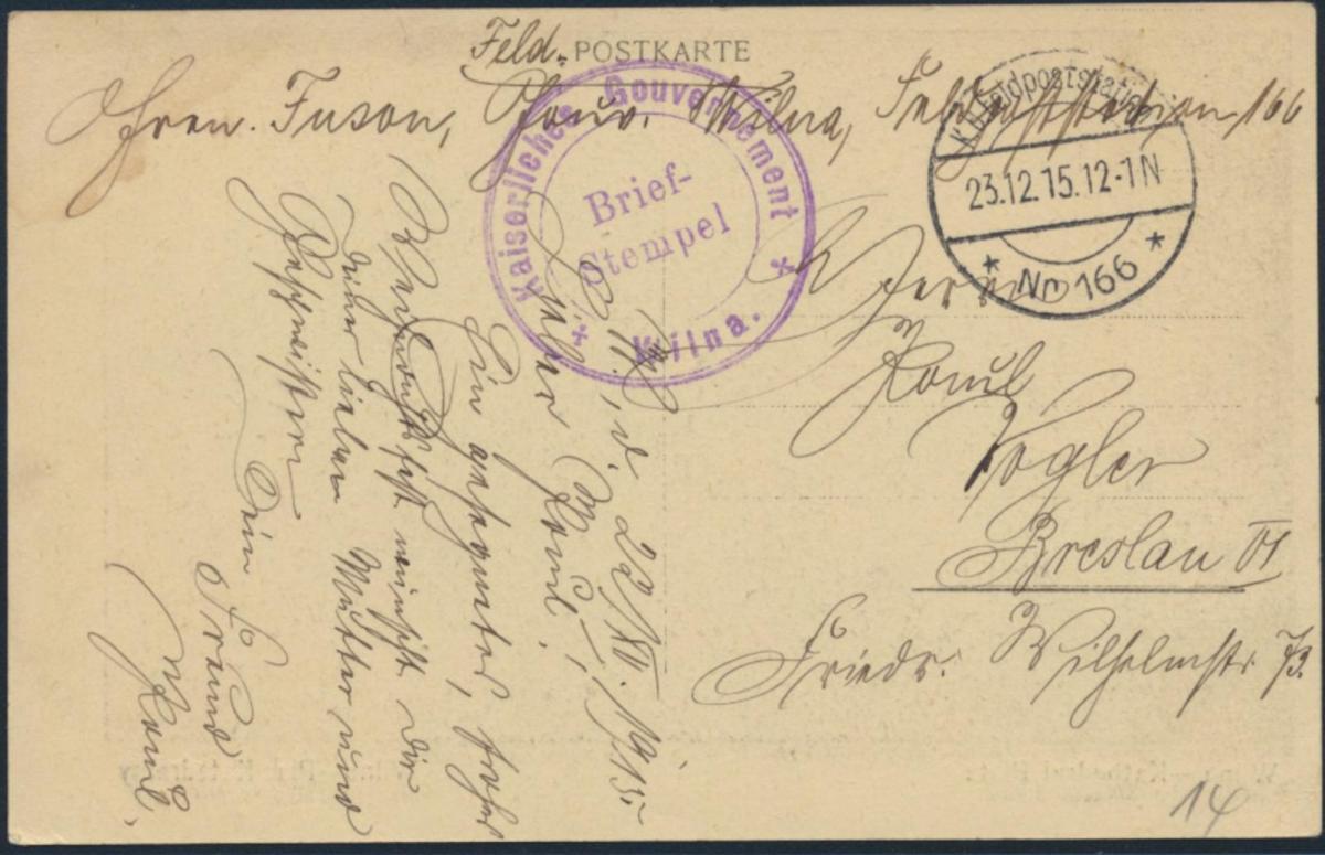 Ansichtskarte Feldpost nach Breslau 1915 Wilna Kathedral Platz Pferdekutschen 1