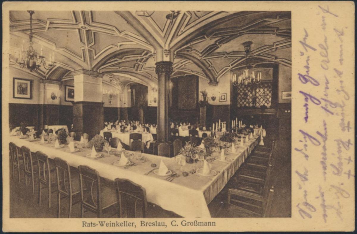Ansichtskarte Foto Breslau nach Nisseldorf Rats-Weinkeller Inh. C.Großmann Innen 0