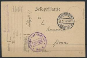 Deutsches Reich Feldpostkarte Landw. Inf.Regiment 104 Feldpoststation 57 n. Bonn
