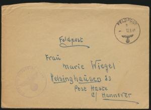 Deutsches Reich Feldpost Brief Post Haste Hannover Abs. 30063 12.9.1941
