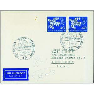 Bund Flugpost Brief Luftpost 368 Europa Paar Destination Bonn Teheran SSt UNO