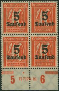 Deutsches Reich 277 Infla Ziffer HAN Unterrand-Viererblock tadelos postfrisch
