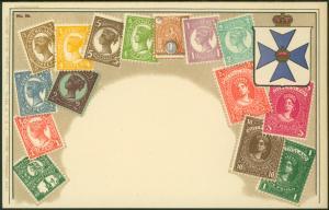 Ansichtskarte Briefmarken Philatelie Wappen Australien Queensland ungelaufen