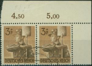Deutsches Reich 850 I Arbeitsdienst Bogenecke Eckrand Paar Plattenfehler I gest