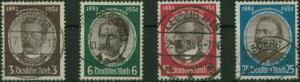 Deutsches Reich 540-543 Kolonialforscher komplett gestempelt