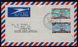 Südafrika 311-312 Brief FDC SST Segelschiff nach Grahamstown-Luderitz 1962.