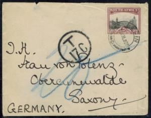 Südafrika Brief EF 2p Landesmotive Elgin Obercunewalde Nachtaxiert Sachsen 1927