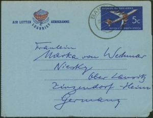 Südafrika Ganzsache Aerogramm 5c Flugpost Banghoek - Niesky Oberlausitz
